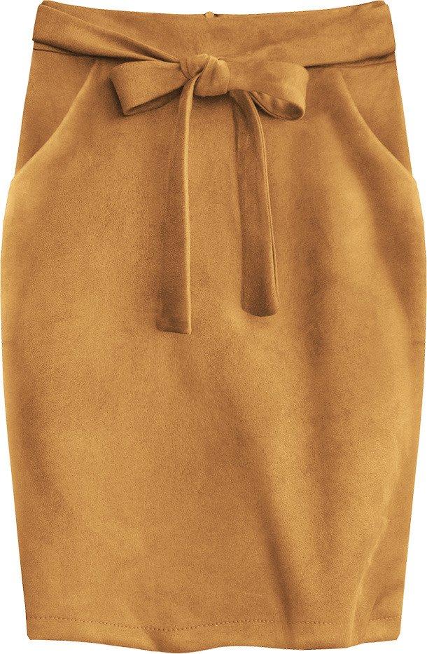 Ołówkowa Spódnica z Elastycznej Ekoskóry Musztardowa Rozmiar XL