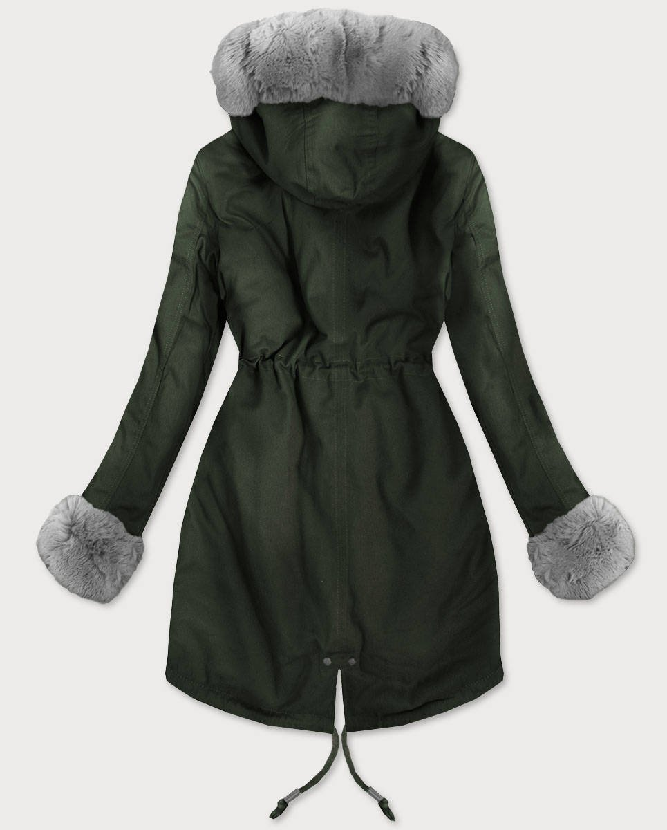 1c4b74a2e1d03 BAWEŁNIANA PARKA Z FUTREM KHAKI (XW801X) khaki | Dla Niej \ Kurtki i  płaszcze zimowe | Goodlookin.pl