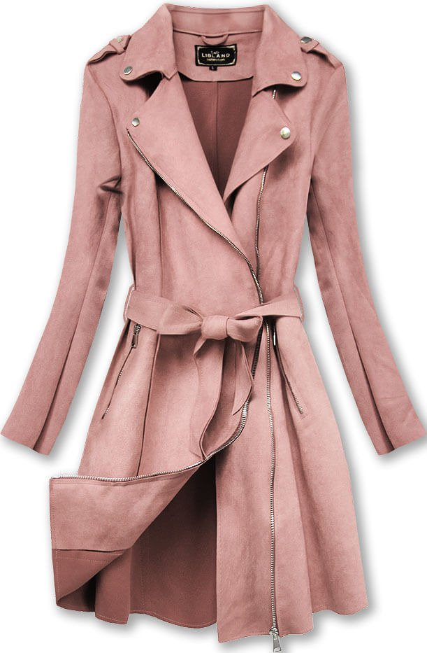 Płaszcz Zamszowy Antyczny Róż 6004big Różowy Kobieta Kurtki I Płaszcze Wiosenne Duże Rozmiary Kurtki I Płaszcze Wiosenne Goodlookin Pl