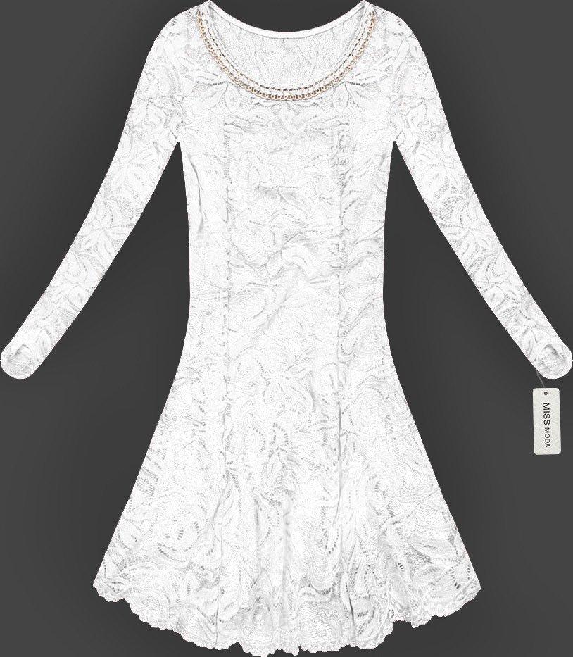 b33e88cf009185 ROZKLOSZOWANA SUKIENKA KORONKOWA BIAŁA (GOOD107) biały | Dla Niej \ Sukienki  | Goodlookin.pl