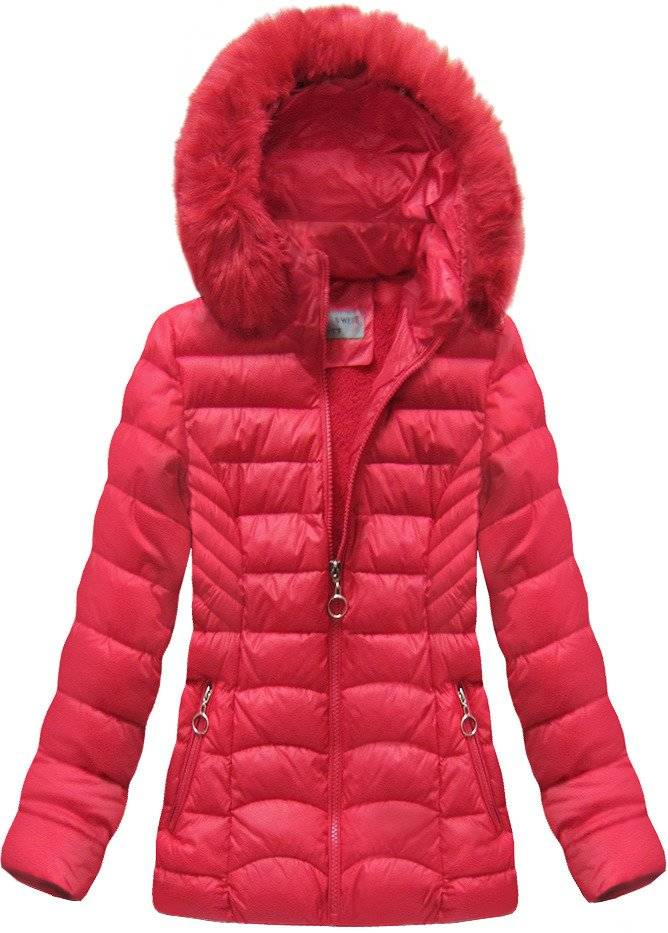 pikowana kurtka z kapturem czerwona goodlookin b9901